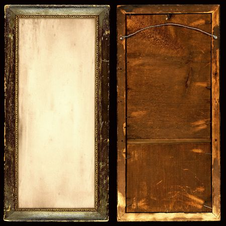 Antique gilded and grungy frame with old paper insert, front and back views.