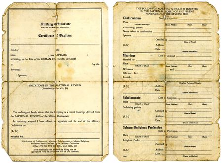 baptismal: Grungy old Catholic military baptismal certificate, front and back views.