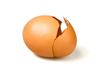 Broken egg with a opening crack in white background  Stock Photo - 6478102