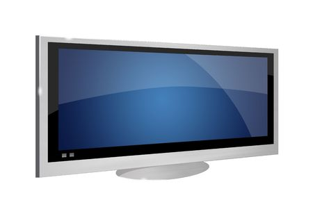A metallic silver LCD TV in white background photo