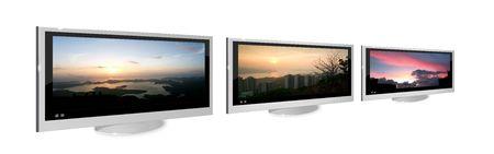 Three metallic silver LCD TV display in white background Stock Photo - 6611654
