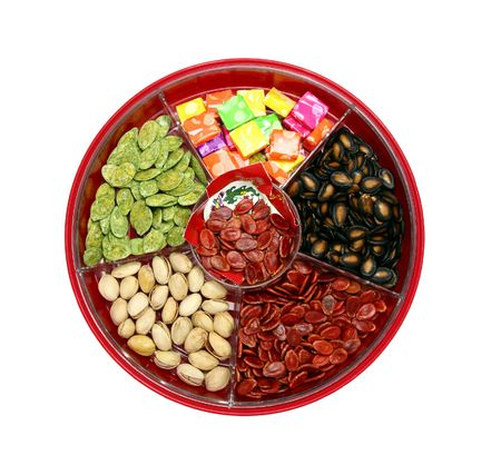 A top view of Chinese candy box. It is used for Chinese New Year, it consists different kinds of candies, chocolate coins, melon seeds, sugar preserved dried fruits or even dried vegetables. photo