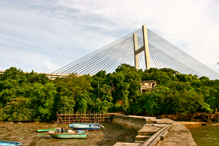 Tsing Ma Bridge with boat in Hong Kong