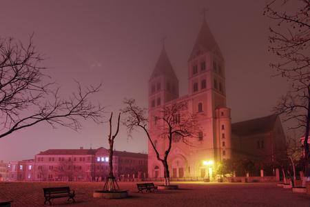 Exterior of a Catholic Church in Qingdao at night