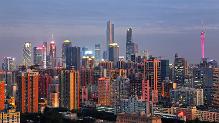 The night view of the Pearl River New Town, Guangzhou Stock Photo - 95268655