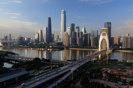 The architectural scenery of the Pearl River New Town in Guangzhou
