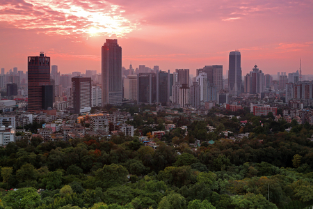 Guangzhou ring city east sunset