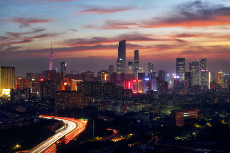 Evening scene of the construction of the Pearl River New Town, Guangzhou