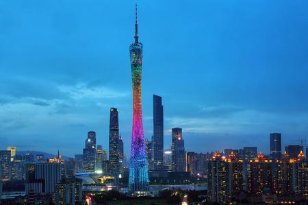 Guangzhou Pearl River New Town building scenery night scene