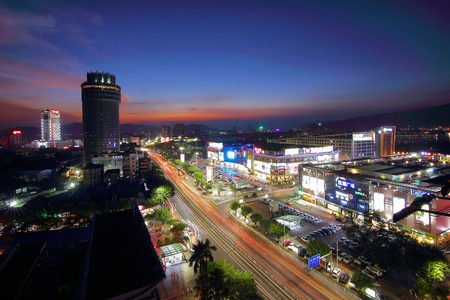 Zhaoqing city night scenery Editorial