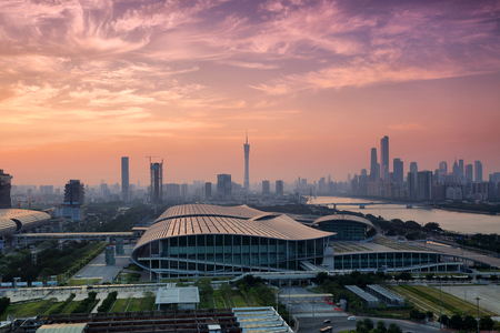 Evening scene of Pazhou Convention and Exhibition Center in Guangzhou