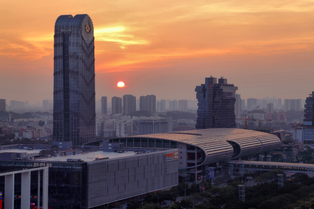 Evening scene of Pazhou Convention and Exhibition Center in Guangzhou Stock Photo - 95268710
