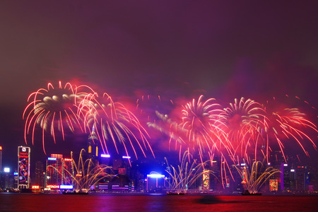 Fireworks display in Victoria Harbour, Hongkong Stock Photo - 95268725