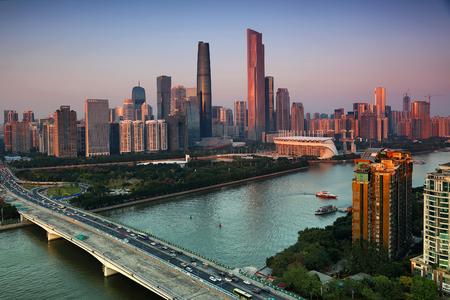 Guangzhou Pearl River New Town dusk