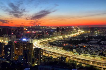 City night scene in Urumqi, Xinjiang Editorial