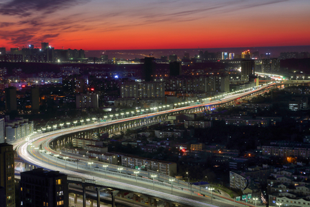 City night scene in Urumqi, Xinjiang Stock Photo
