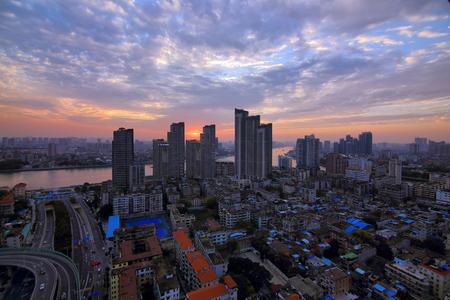 Nightscape at dusk dusk, Guangzhou