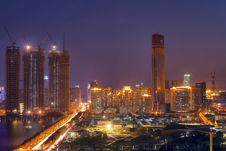 Xiamen City Scenery dusk night scene Stock Photo