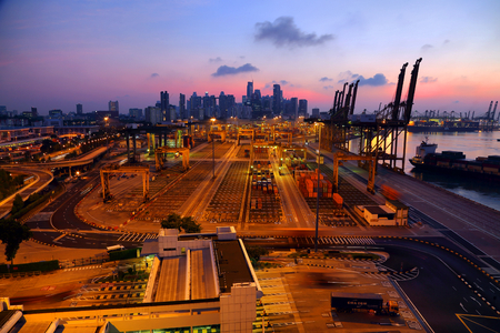 Singapore port sunrise
