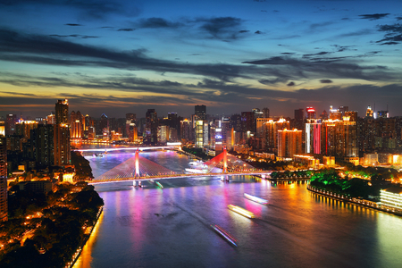 The night scenery of the Pearl River City in Guangzhou