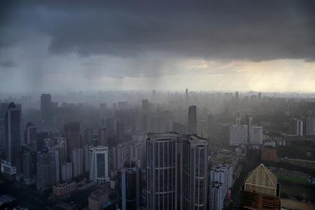 Guangzhou Tianhe storm raining Editorial
