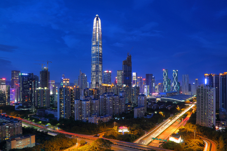 The night scenery of the city in Futian center, Shenzhen