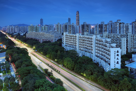 The night scenery of the city of Luohu, Shenzhen Editorial