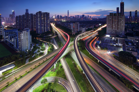 Shenzhen city night scenery overpass Huang Mu Gang
