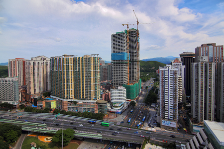 The city scenery of the peoples road in Luohu, Shenzhen