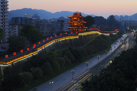 The night view of the wall of Zhaoqing song city wall