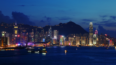 Night view of Victoria Harbour in Hongkong Editorial