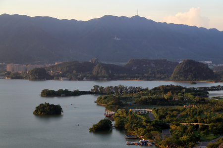 The seven star rock scenery of the star lake in Zhaoqing