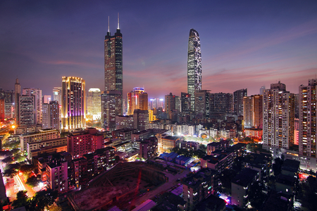 Shenzhen Luohu City scenery night view Stock Photo - 106546455