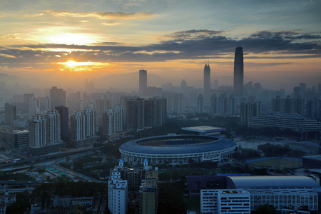 Shenzhen Luohu Building Dawn Editorial