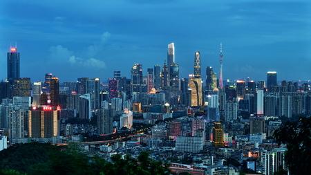 Guangzhou Baiyun Mountain overlooking Tianhe City scenery night view
