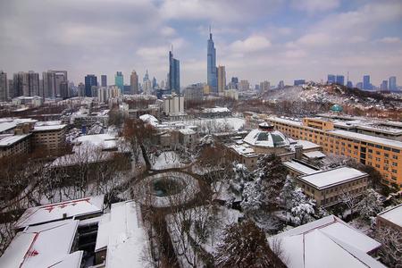 Nanjing Southeast University blizzard landscape