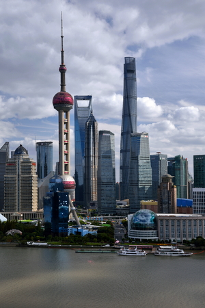 Shanghai Oriental Pearl TV Tower and City Architecture Scenery