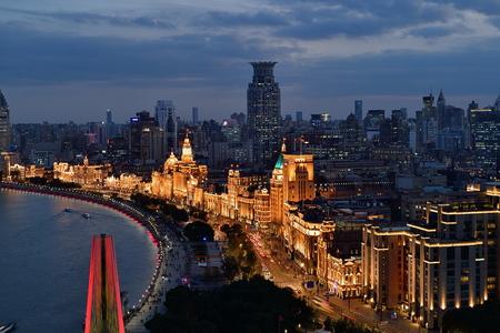 Shanghai Huangpu River Lujiazui - The Bund and City Building Scenery