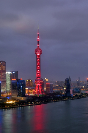 Shanghai Pudong Lujiazui Financial District City Scenery Night Light Show Editorial