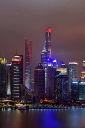 Shanghai Pudong Lujiazui Financial District City Scenery Night Light Show Stock Photo - 120170559