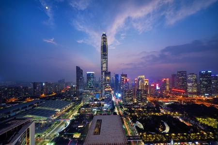 Shenzhen Futian Central District City Scenery Night Scene Editorial
