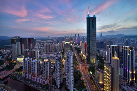 Shenzhen Luohu city architecture scenery night view Editorial