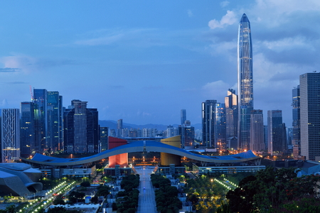 Shenzhen Lianhua Mountain overlooks Futian Central District City Scenery Morning Editorial