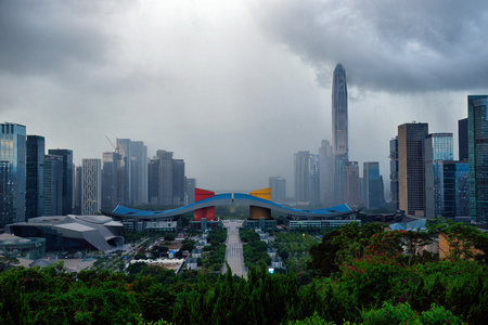 Shenzhen Lianhua Mountain overlooks the city scenery of Futian Central District