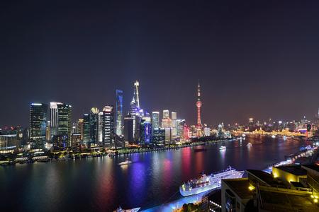 Night City Scenery of Lujiazui in Shanghai