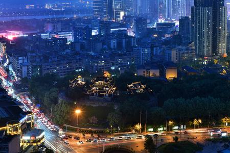 Changsha Tianxin Pavilion night view Editorial