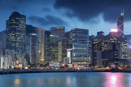 Hong Kong Victoria Harbor city architecture night view