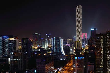 Scenery and night view of Hudong CBD city in Suzhou Industrial Park