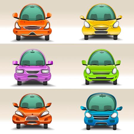 carro caricatura: Coches coloridos dibujos animados vista frontal