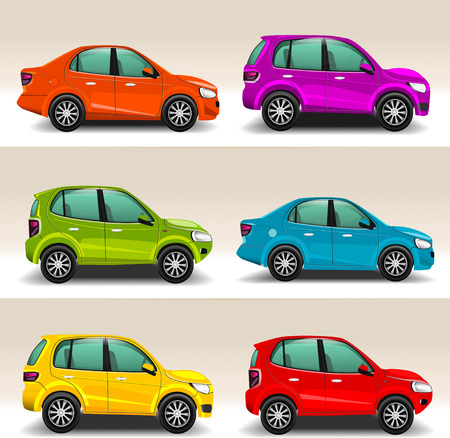 purple car: Colorful cars vector